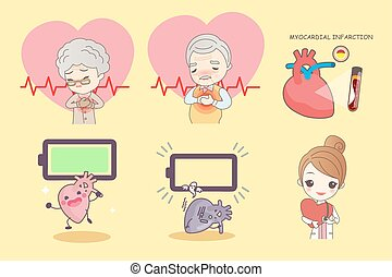 old people with heart disease - cartoon old people with...