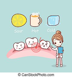 cute cartoon sensitive tooth, great for health dental care...