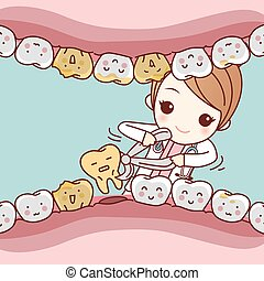 dentist extraction tooth with dental - cartoon dentist...