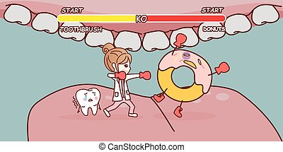 cartoon woman doctor ko donuts - cartoon woman doctor is ko...
