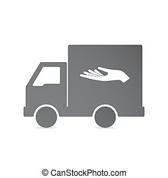 Isolated delivery truck with a hand offering