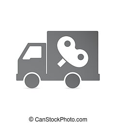 Isolated delivery truck with a toy crank - Illustration of...