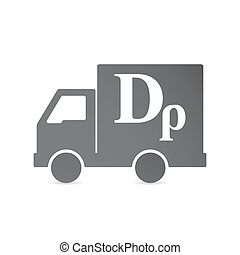 Isolated delivery truck with a drachma currency sign -...
