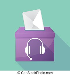Long shadow ballot box with a hands free phone device -...