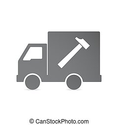 Isolated delivery truck with a hammer