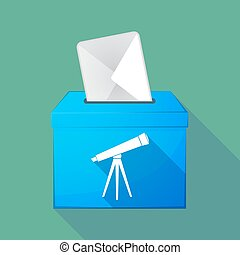 Long shadow ballot box with a telescope - Illustration of a...
