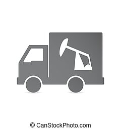 Isolated delivery truck with a horsehead pump - Illustration...