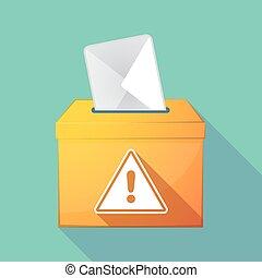 Long shadow ballot box with a warning signal