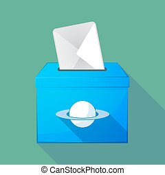 Long shadow ballot box with the planet Saturn - Illustration...