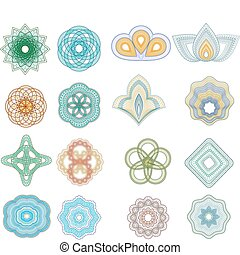 Vector set of guilloche rosette