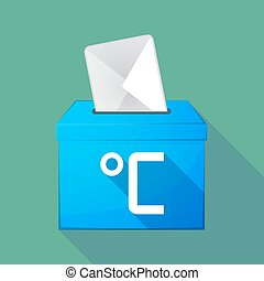 Long shadow ballot box with a celsius degree sign -...