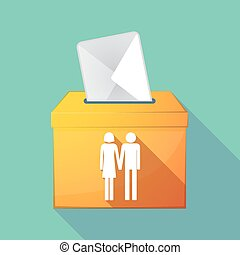 Long shadow ballot box with a heterosexual couple pictogram...