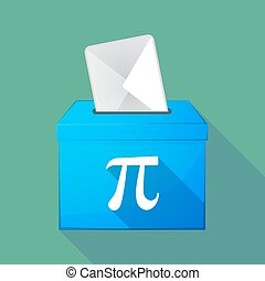 Long shadow ballot box with the number pi symbol -...