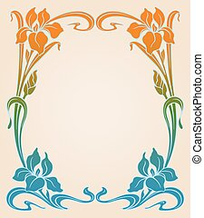 Art deco frame with iris. - Vector art deco ornamental...