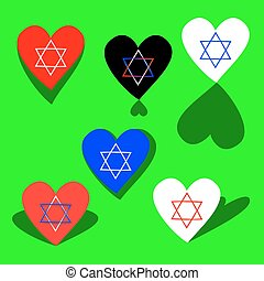 Simple icons with six-pointed star - hexagram - on heart...
