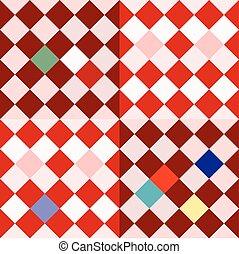 Colorful oblique checkerboard - retro pattern in cubist or...