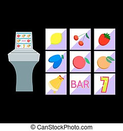 Slot machine with fruit symbols on black