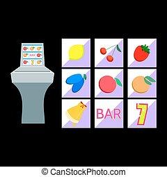 Slot machine with fruit symbols on black