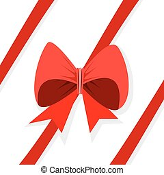 Red oblique ribbon - Red ribbon with bow on white background...