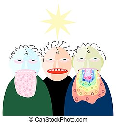 People suffering from nausea. Vomiting faces. Funny stylized...