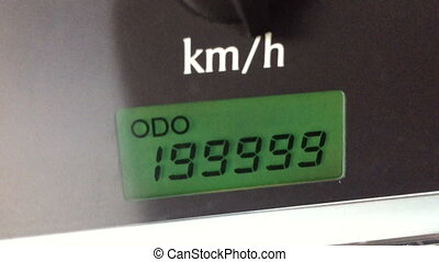 digital odometer mileage of two hundred thousand
