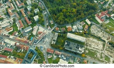 Aerial view of streets of slovak town Banska Bystrica. -...