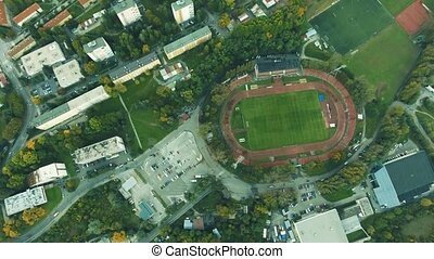 Aerial view of football stadium in town, Banska Bystrica,...