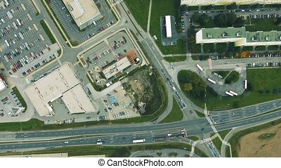 Aerial view of supermarkets, car parks and roads. Zvolen...
