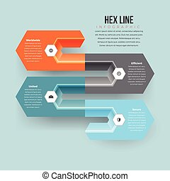 Hex Line Infographic - Vector illustration of hex line...