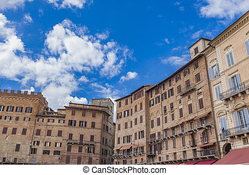 Piazza del Campo in Siena, Italy - Detail from Piazza del...