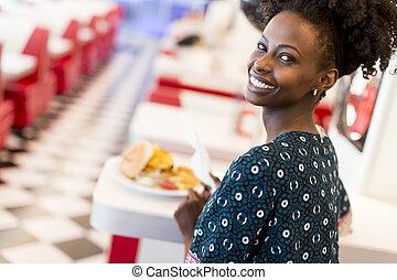 americano, mulher,  diner, africano