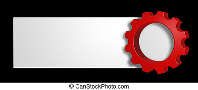 blank sign and gear wheel - 3d illustration
