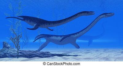 Plesiosaurus Jurassic Reptiles - Plesiosaurus marine reptile...