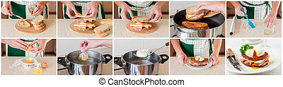 A Step by Step Collage of Making Croque Madame - A Step by...
