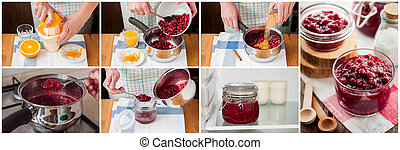 A Step by Step Collage of Making Cranberry Sauce - A Step by...