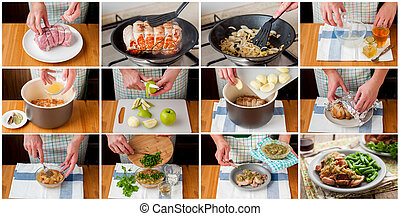 A Step by Step Collage of Making Slow Cooked Pork with Apple...