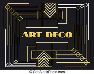 Art deco frame. Style 1920's, 1930 - Art deco frame. Art...