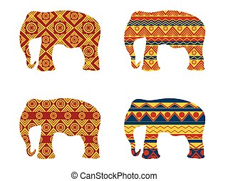 Indian elephant pattern. Vector
