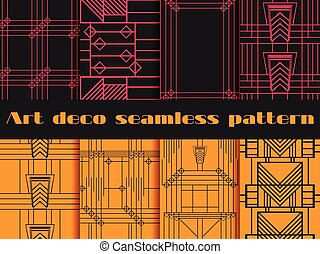 Art deco seamless patterns. Art deco geometric seamless...