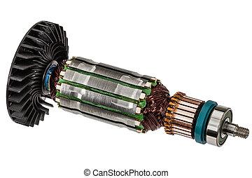 rotor, eléctrico, Plano de fondo, aislado, motor, blanco,...