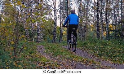 A cyclist rides along a path in a park. - A cyclist rides...