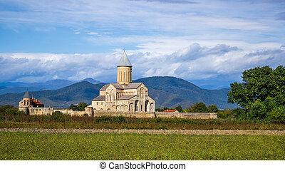 kakhetia, Géorgie, oriental, panorama, géorgien, orthodoxe,...