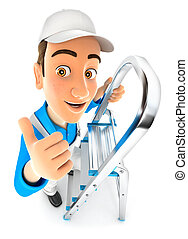 3d painter on stepladder with thumb up, illustration with...