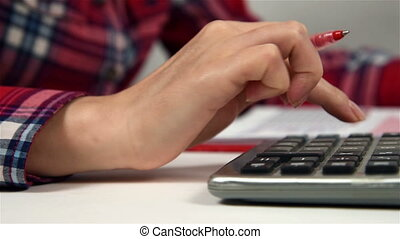 Accountant Businesswoman Working With Calculator And...