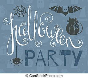 Halloween party vintage grunge poster with bat, cat and...