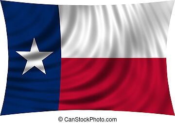 Flag of Texas waving isolated on white