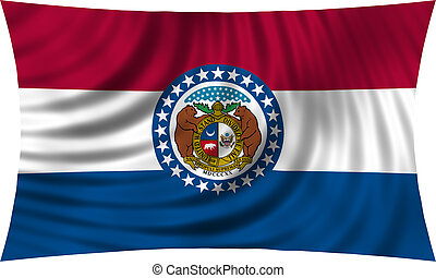 Flag of Missouri waving isolated on white