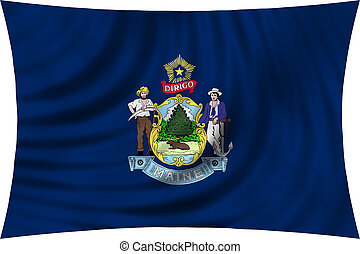 Flag of Maine waving isolated on white