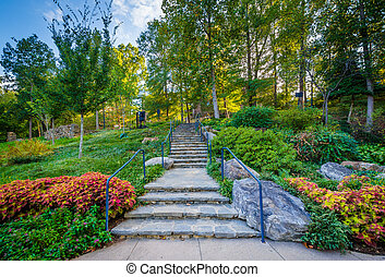Stairs and gardens at the Falls Park on the Reedy, in...