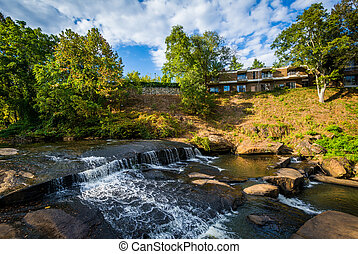 Waterfall at the Falls Park on the Reedy, in Greenville,...